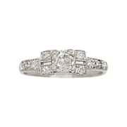 .58 ct. Diamond & Platinum Art Deco Engagement Ring- J33202