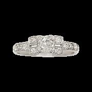 .58 ct. Diamond & Platinum Art Deco Engagement Ring- J33202