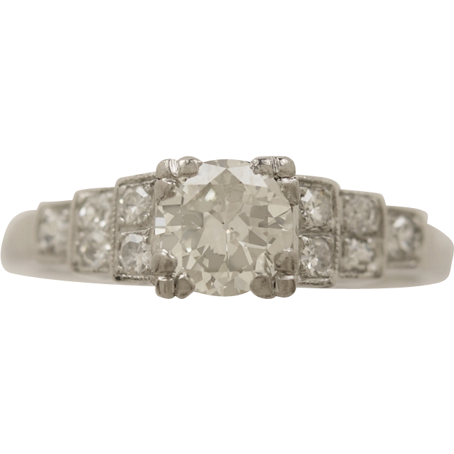 .65ct. Diamond & Platinum Art Deco Engagement Ring - J33289