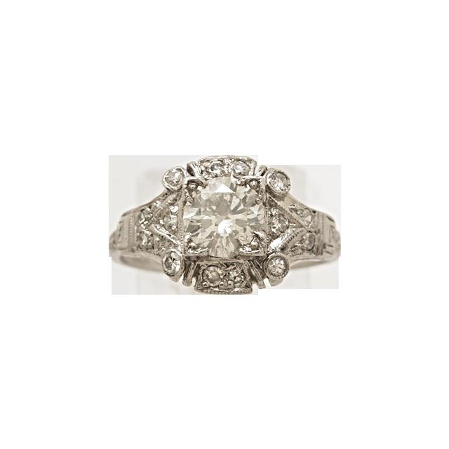 .73ct. Diamond & Platinum Art Deco Engagement Ring- J33318