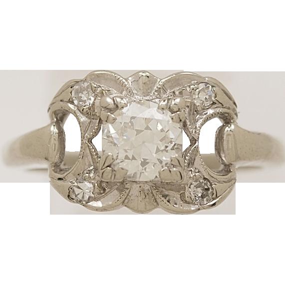 .53 ct. Diamond & White Gold Antique Engagement Ring- J33369