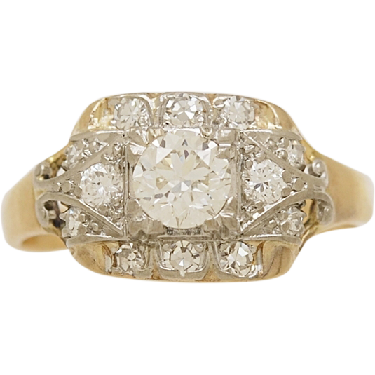 .40ct. Diamond, Platinum & 18K Yellow Gold Art Deco Engagement Ring - J33337