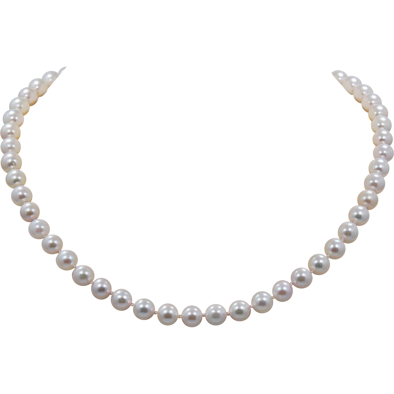 Vintage 7.5 - 8mm Pearl Necklace w/Antique Diamond, Pearl & 18K Yellow Gold - J33497