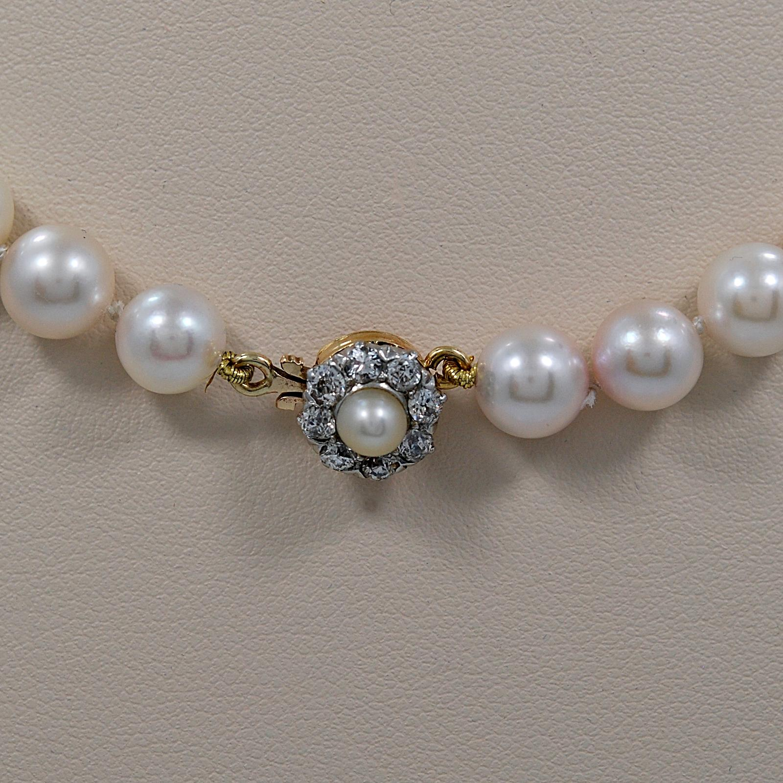 Vintage 7 5 8mm Pearl Necklace W Antique Diamond Pearl