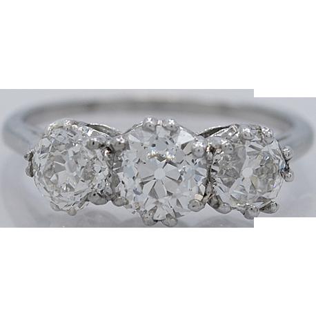 Platinum 1.60ct. T.W. Diamond Art Deco Engagement Ring - J33774