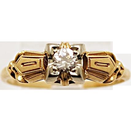 .17ct. Diamond & Yellow/White Gold Art Deco Engagement Ring - J33858