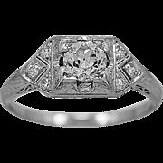 Antique Engagement Ring .58ct. Diamond & Platinum Art Deco - J34015