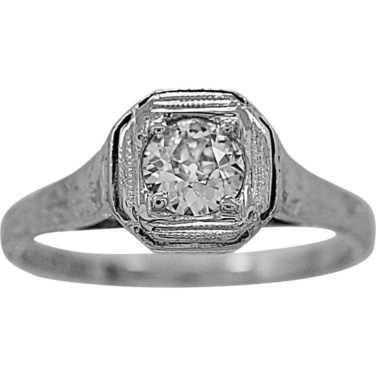 Antique Engagement Ring .50ct. Diamond & 18K White Gold Edwardian - J34018