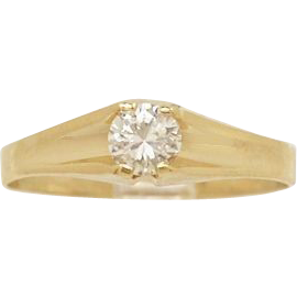 .28ct. Diamond & Yellow Gold Vintage Engagement Ring By K.C. Designs - J34034