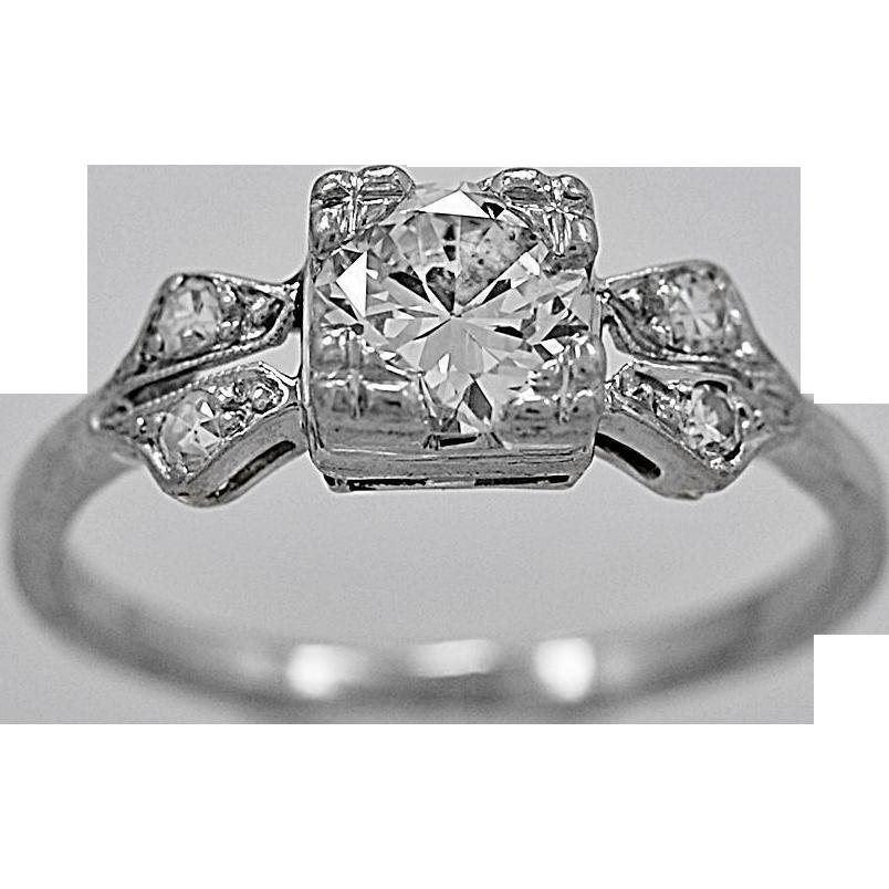 Antique Engagement Ring .65ct. Diamond & Platinum Art Deco - J34045