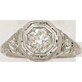 .52ct. Diamond & 18K White Gold Edwardian Engagement Ring- J34048