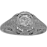 Antique Engagement Ring .40ct. Diamond & Platinum Edwardian - J34071