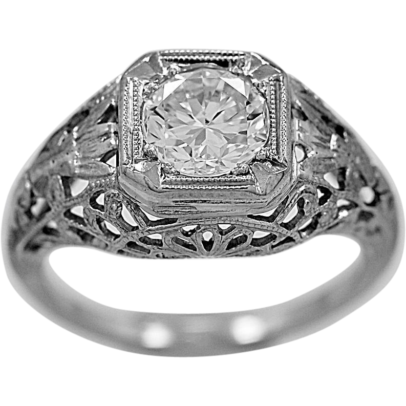 Antique Engagement Ring .90ct. Diamond & 18K White Gold Edwardian - J34076