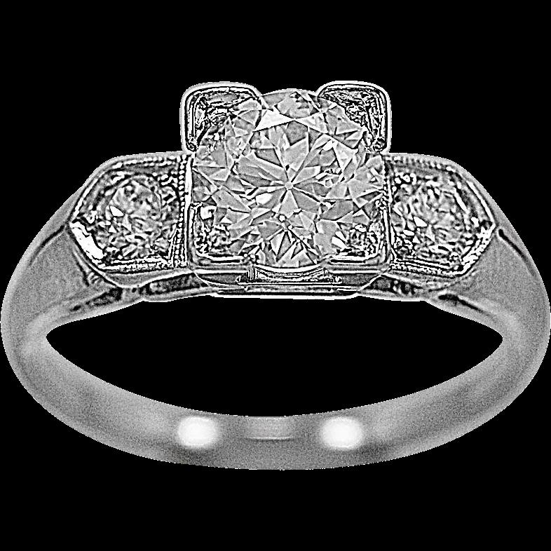 Antique 3 Stone Ring 1.02ct. Diamond & Platinum Art Deco - J34087