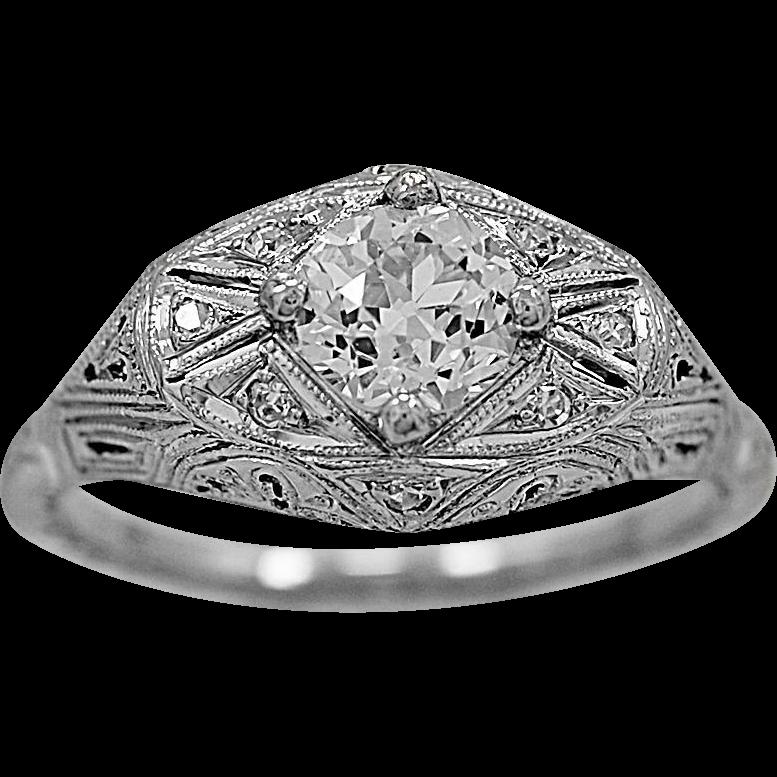 Antique Engagement Ring .65ct. Diamond & Platinum Art Deco- J34102