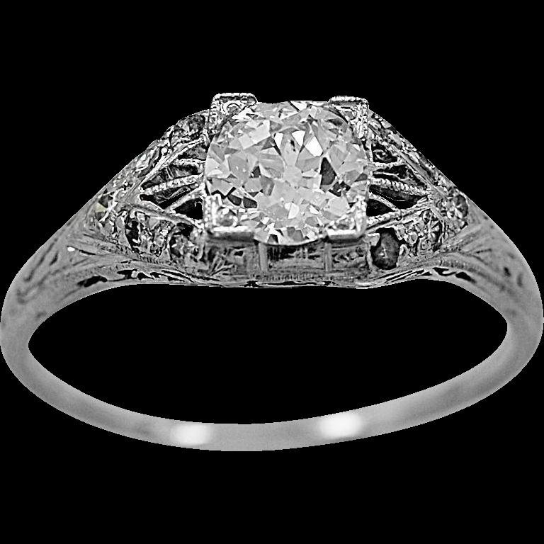 Antique Engagement Ring .70ct. Diamond & Platinum Art Deco- J34121