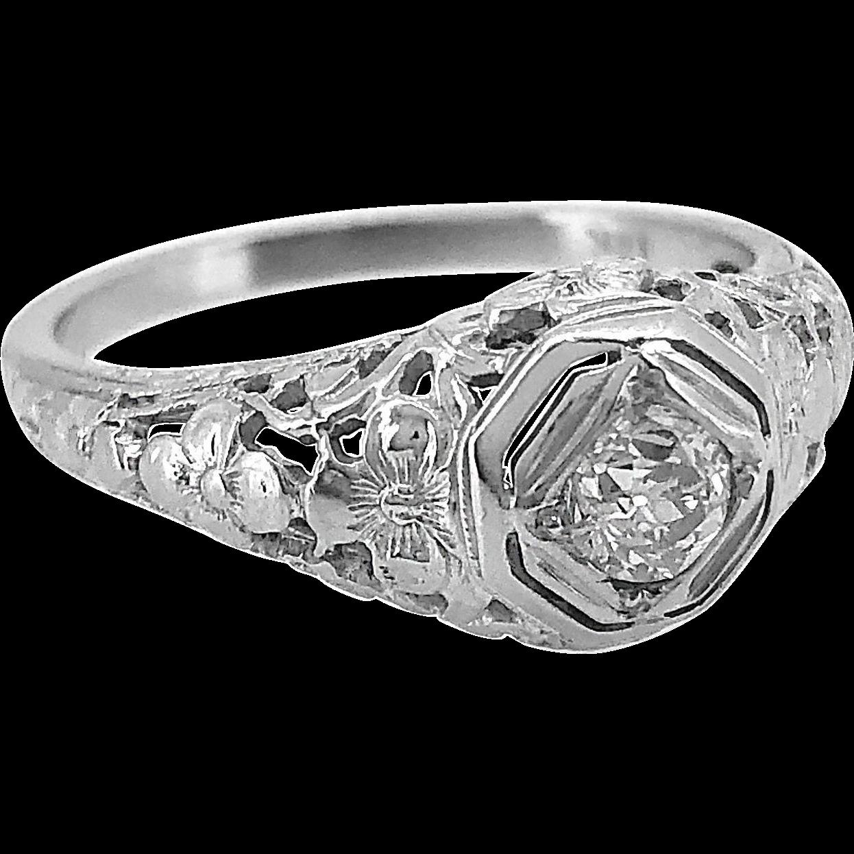 Art Deco .78ct. Diamond & Yellow/White Gold Engagement Ring- J34132