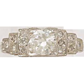 .60ct. Diamond & Platinum Art Deco Engagement Ring-J33932