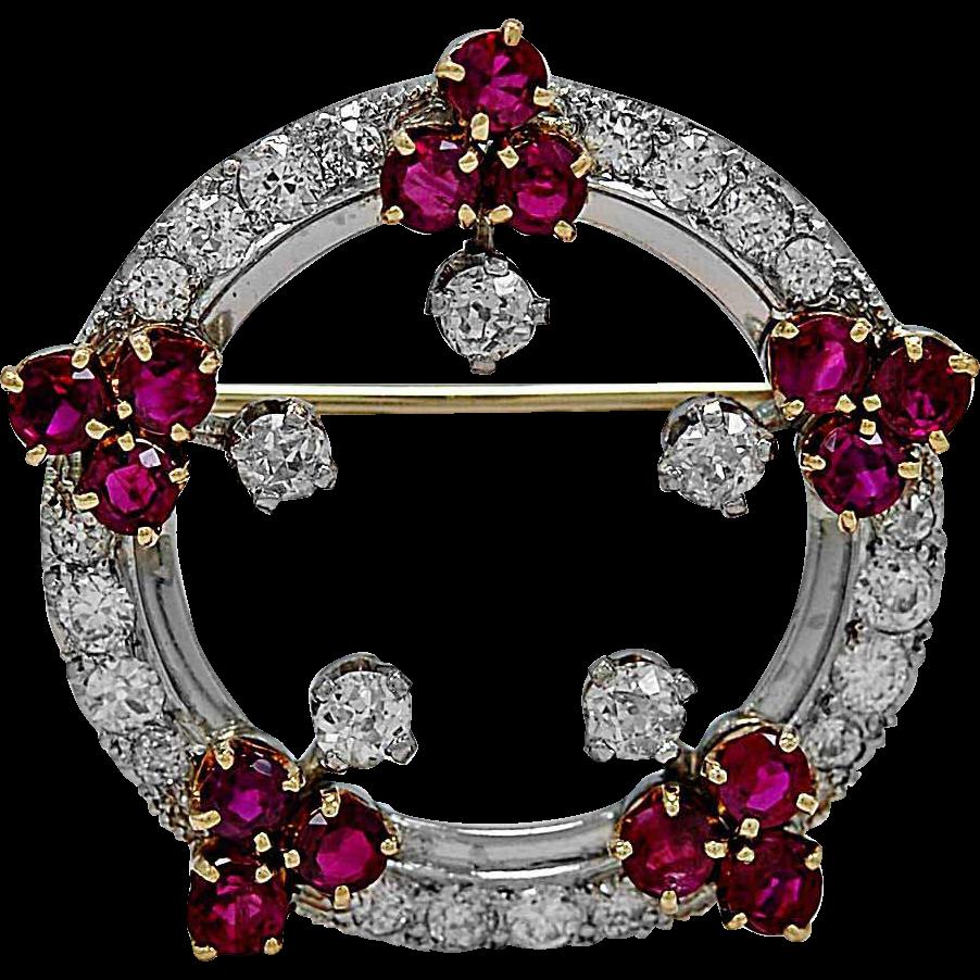 Antique Brooch 2.50ct. T.W. Diamond, 3.00ct. T.W. Ruby & Platinum - J34153