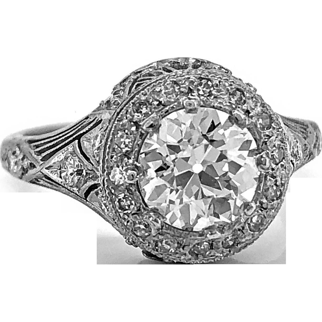 Art Deco Diamond Antique Engagement Ring 1.20ct. White Gold