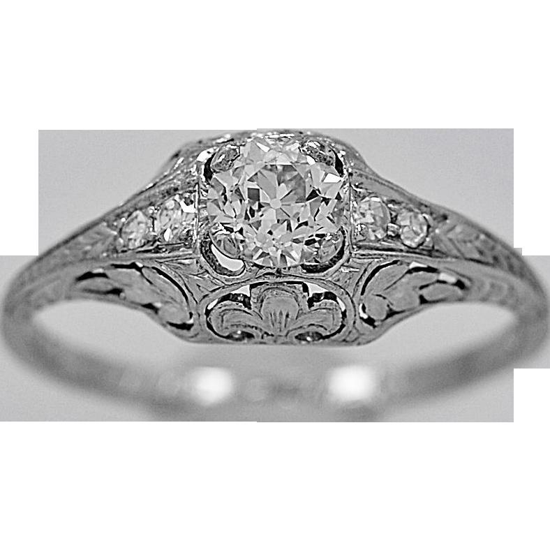 Antique Engagement Ring .46ct. Diamond & Platinum Art Deco - J34182