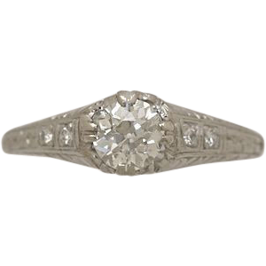 .55ct. Diamond & Platinum Art Deco Engagement Ring - J34258