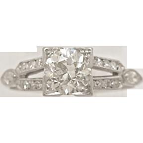 1.00ct. Diamond & Platinum Art Deco Engagement Ring- J32848