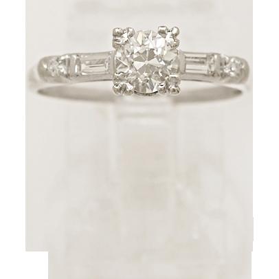 .60ct. Diamond & Platinum Art Deco Engagement Ring- J34024