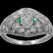 Antique Engagement Ring - Fashion Ring .21ct. Diamond, Emerald, & Platinum - J34280