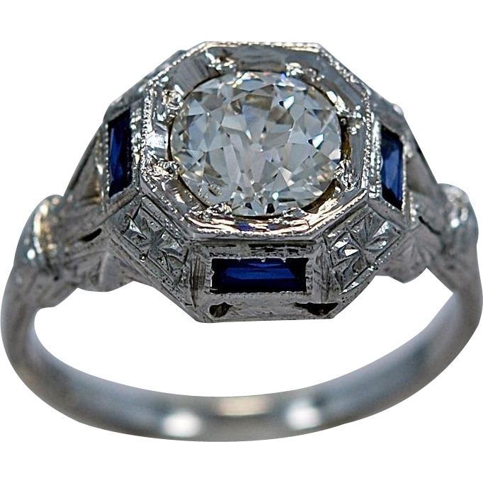 1.07ct. Diamond, Sapphire & 18K White Gold Art Deco Engagement Ring - J34319
