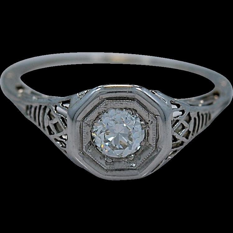 .33ct. Diamond & 18K White Gold Art Deco Engagement Ring- J34331