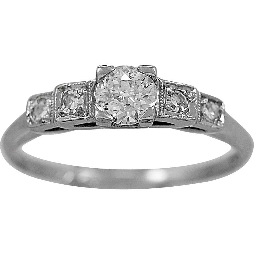 Antique Engagement Ring.37ct. Diamond & Platinum Art Deco- J34332