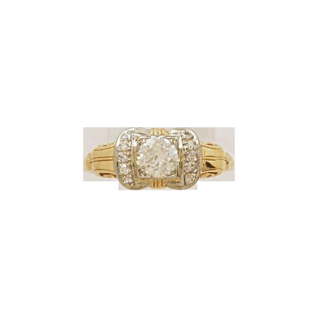 .38ct. Diamond & White/Yellow Gold Art Deco Engagement Ring