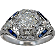 1.00ct. Diamond, Sapphire, & Platinum Art Deco Engagement Ring