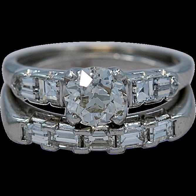 .90ct. Diamond & Platinum Art Deco Engagement Wedding Set - J34343
