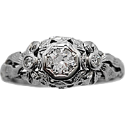 .22ct. Diamond & 18K White Gold Art Deco Engagement Ring By Ring-O-Roman - J34351