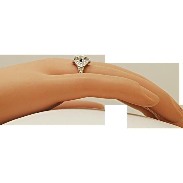 1.07ct. Diamond, Sapphire & Platinum Art Deco Engagement Ring - J34364