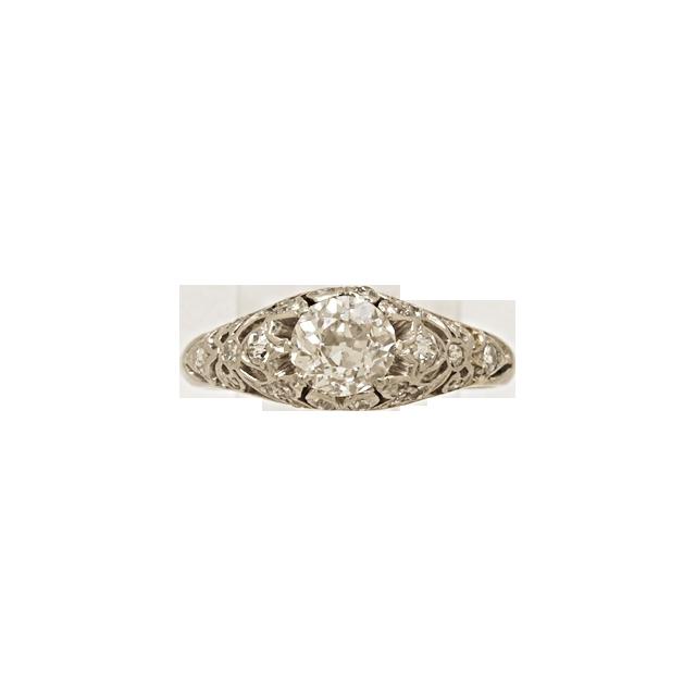 .87ct. Diamond & Platinum Art Deco Engagement Ring- J34377