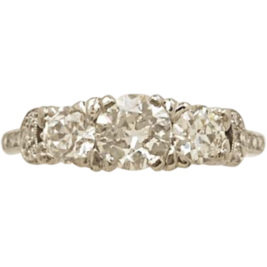 .65ct. Diamond & Platinum Art Deco Engagement Ring- J34375