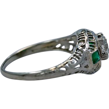 Antique Engagement Ring .43ct. Diamond, Emerald & 18K White Gold Art Deco - J34381