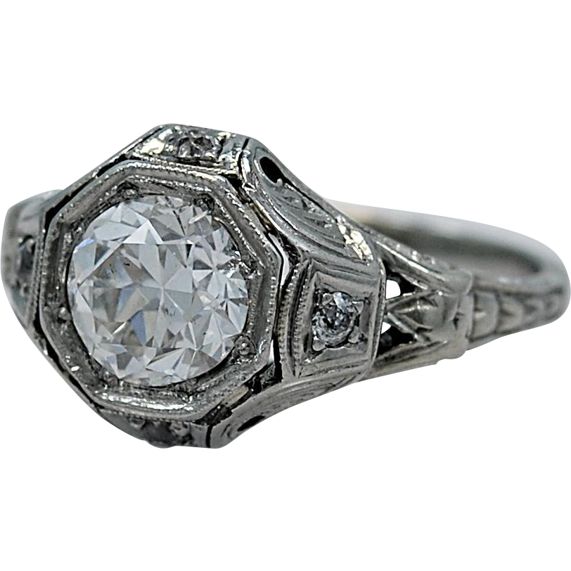 1.15ct. Diamond & 18K White Gold Art Deco Engagement Ring- J34399