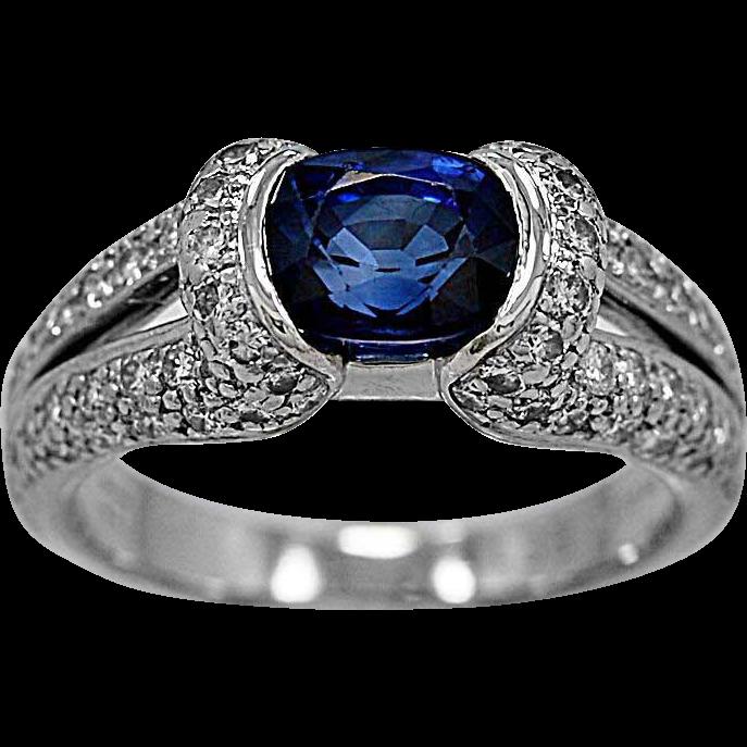 Estate Engagement Ring 1.75ct. Sapphire, Diamond & Platinum Eichhorn- J34421