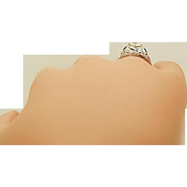 Antique Engagement Ring .85ct. Diamond, Sapphire & 18K White Gold - EGL Certificate- J34432