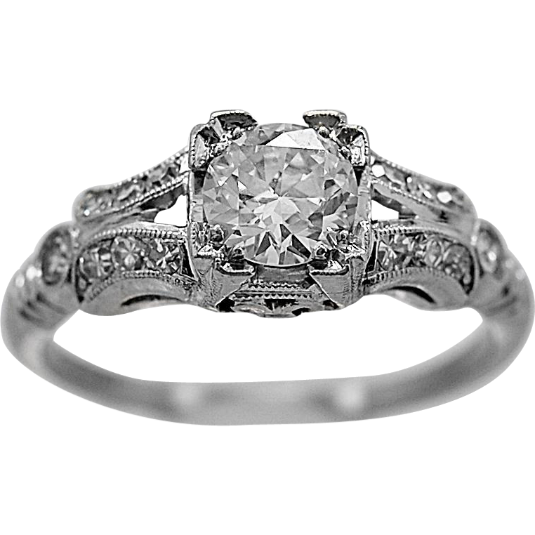 .55ct. Diamond & Platinum Art Deco Engagement Ring- J34434