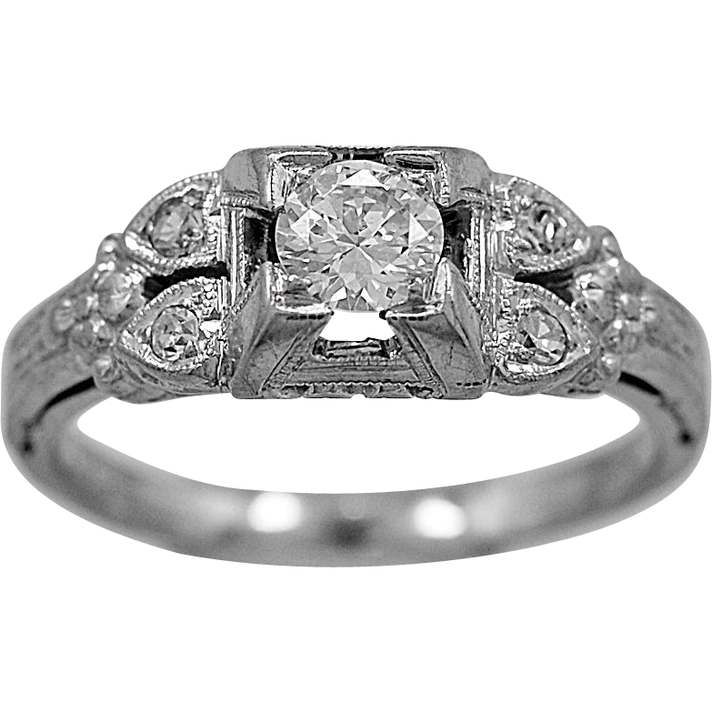 Antique Engagement Ring .33ct. Diamond & 18K White Gold Deco- J34443