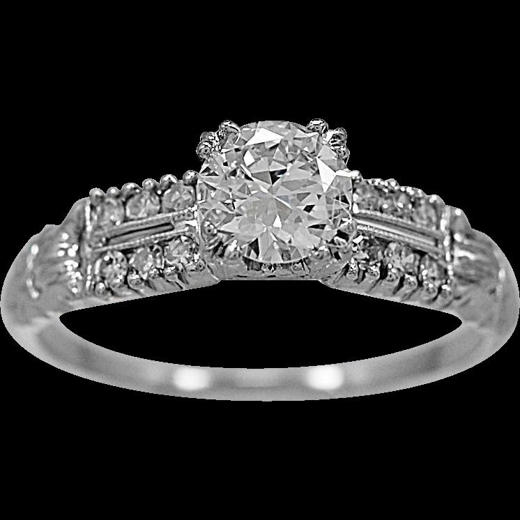 Antique Engagement Ring .61ct. Diamond & 18K White Gold Art Deco- J34500