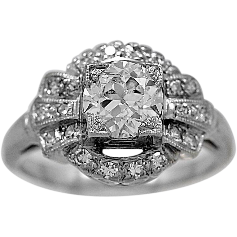 Antique Engagement Ring .95ct. Diamond & White Gold Art Deco- J34522
