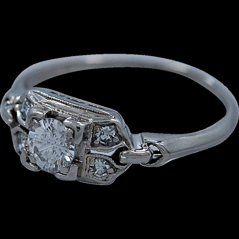 .51ct. Diamond & Platinum Art Deco Engagement Ring Set- J34534