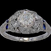 Antique Engagement Ring .83ct Diamond Sapphire Diamond Deco - J34538