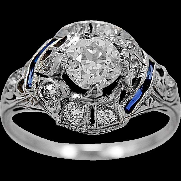 Antique Engagement Ring .82ct. Diamond, Sapphire & Platinum Art Deco - J34540